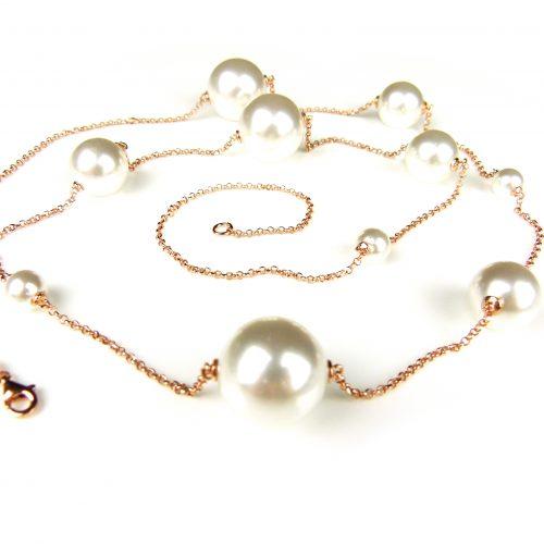 lange zilveren ketting collier halssnoer roos goud verguld gezet met parels