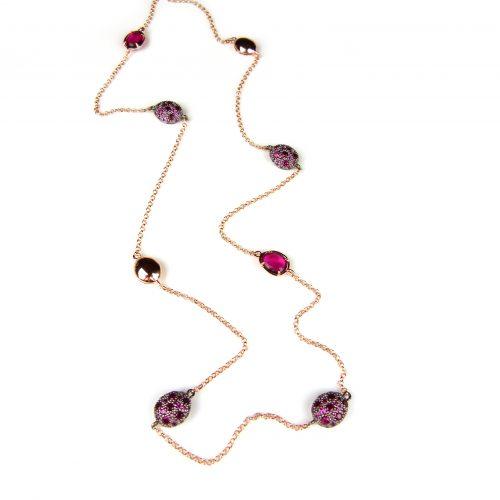 lange zilveren ketting collier halssnoer roos goud verguld gezet met rode stenen