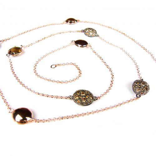 lange zilveren ketting collier halssnoer roos goud verguld gezet met bruine stenen