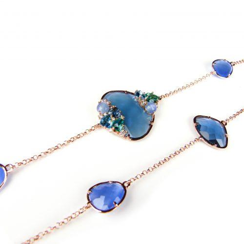 lange zilveren ketting collier halssnoer roos goud verguld gezet met blauwe stenen