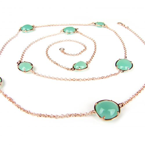 lange zilveren ketting halssnoer collier roos goud verguld gezet met groene stenen