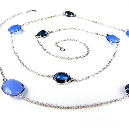 lange zilveren ketting halssnoer collier gezet met blauwe stenen