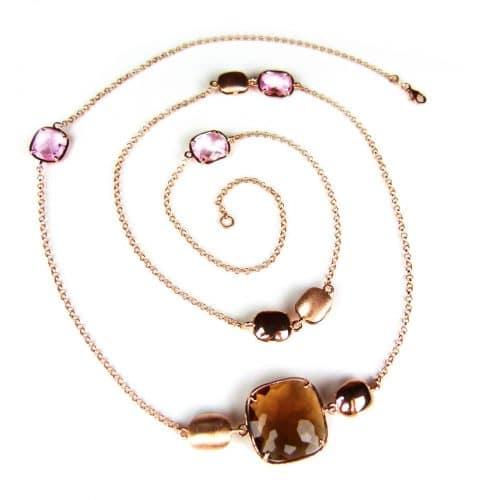 lange zilveren collier halssnoer roos goud verguld met bruine en roze stenen