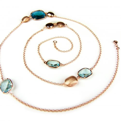 lange zilveren collier halssnoer roos goud verguld met blauwe stenen