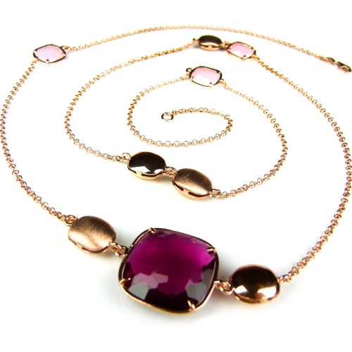 lange zilveren collier halssnoer roos goud verguld met rode en roze stenen