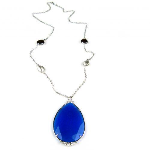 zilveren collier halssnoer met blauwe hanger