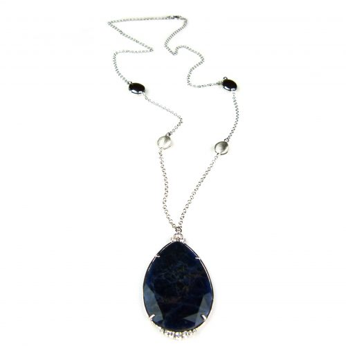zilveren collier halssnoer met donkerblauwe hanger