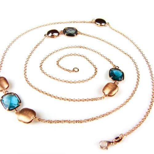 lange zilveren collier halssnoer roze goud verguld gezet grijze en blauwe stenen