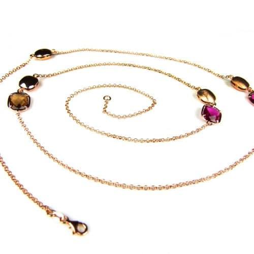 lange zilveren collier halssnoer roze goud verguld gezet met bruine en rode stenen