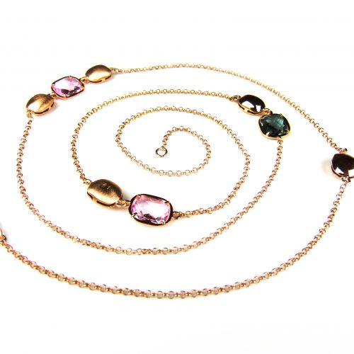 lange zilveren collier halssnoer roze goud verguld gezet met roze en grijze stenen