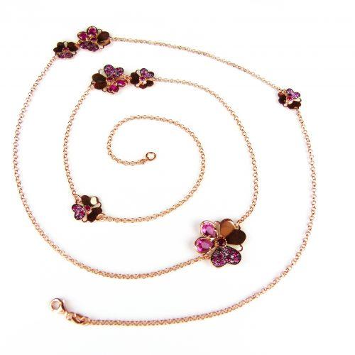 lange zilveren collier halssnoer roze goud verguld gezet met rode stenen