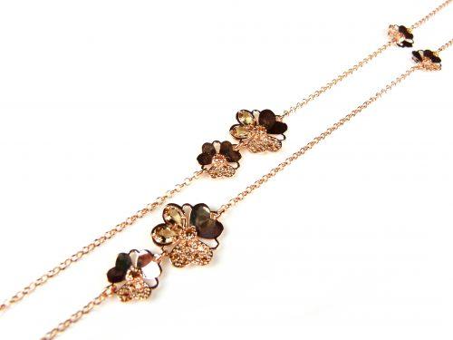 lange zilveren collier halssnoer roze goud verguld gezet met bruine stenen