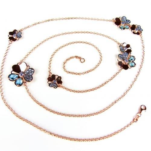 lange zilveren collier halssnoer roze goud verguld gezet met blauwe stenen