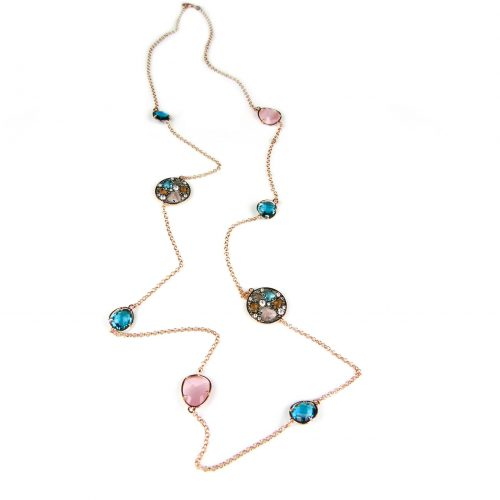 lange zilveren collier halssnoer roze goud verguld gezet met blauwe en bruine stenen