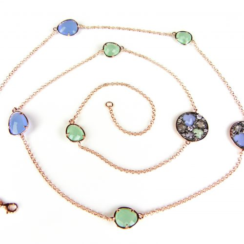 lange zilveren collier halssnoer roze goud verguld gezet met blauwe en groene stenen