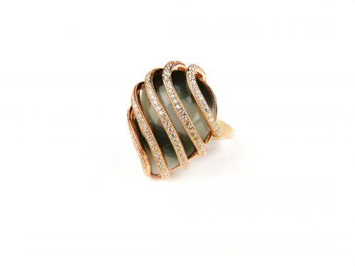 zilveren ring roos goud verguld gezet met grijze steen en cubic zirconia