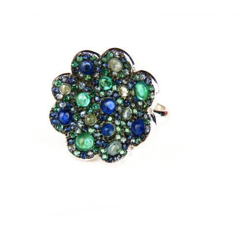 zilveren ring bloem vorm gezet met blauw groene stenen