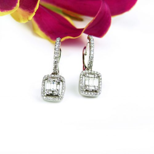 oorringen oorbellen in wit goud gezet met diamant