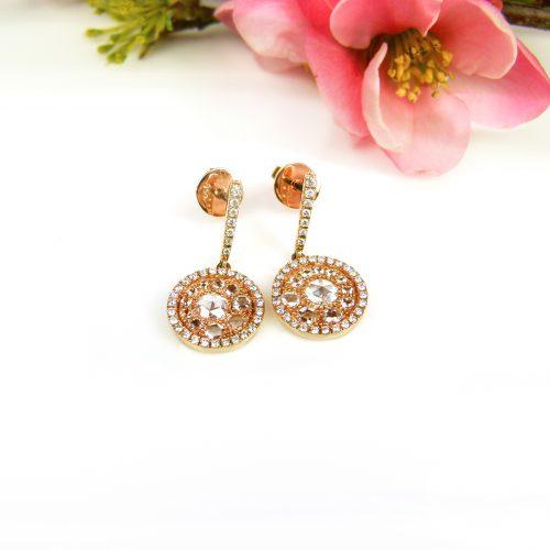 oorringen oorbellen in roos goud gezet met diamant