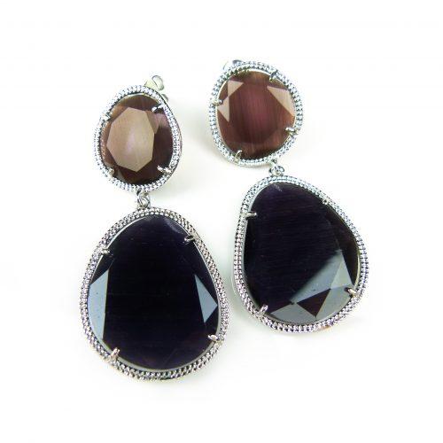 zilveren oorringen oorbellen gezet met bruine stenen