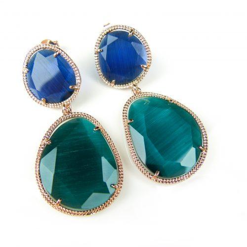 zilveren oorringen oorbellen roos goud verguld gezet met groene en blauwe stenen