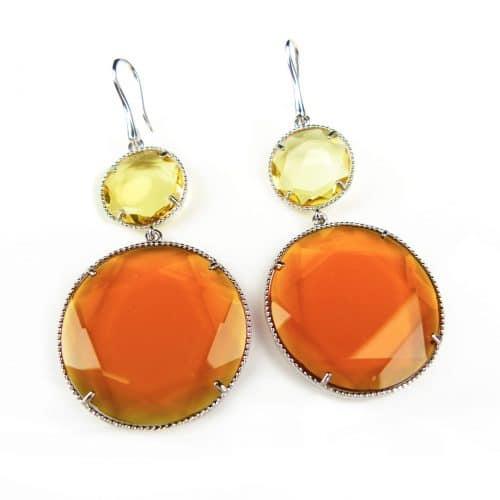 zilveren oorringen oorbellen gezet met geel oranje stenen