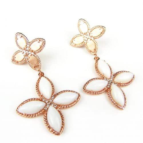 zilveren oorringen oorbellen roos goud verguld gezet met witte stenen