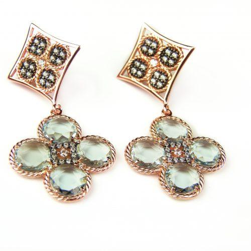 zilveren oorringen oorbellen roos goud verguld gezet met grijze stenen