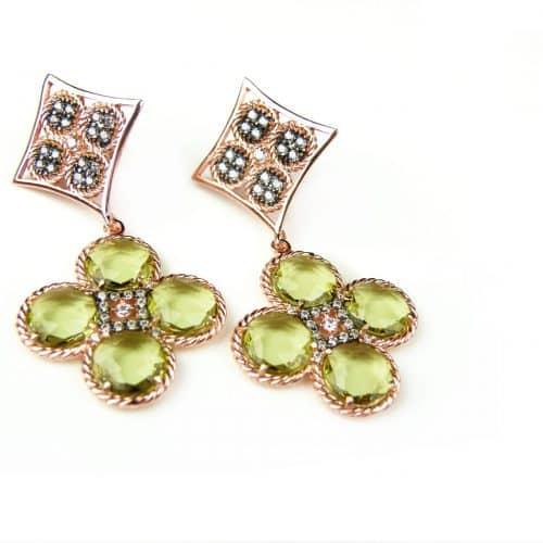 zilveren oorringen oorbellen roos goud verguld gezet met groene stenen