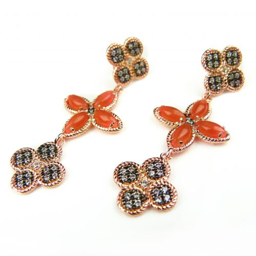 zilveren oorringen oorbellen roos goud verguld gezet met oranje stenen