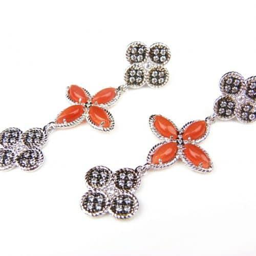 zilveren oorringen oorbellen gezet met oranje stenen