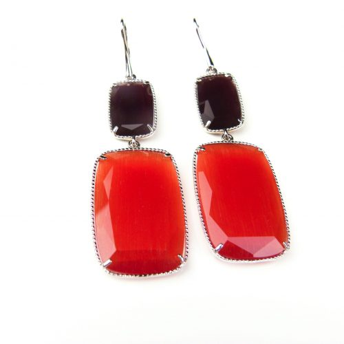 zilveren oorringen oorbellen gezet met oranje en paarse stenen