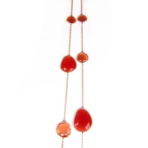 zilveren collier halsketting roos goud verguld gezet met oranje stenen