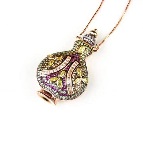 zilveren collier halssnoer roos goud verguld met hanger gekleurde stenen