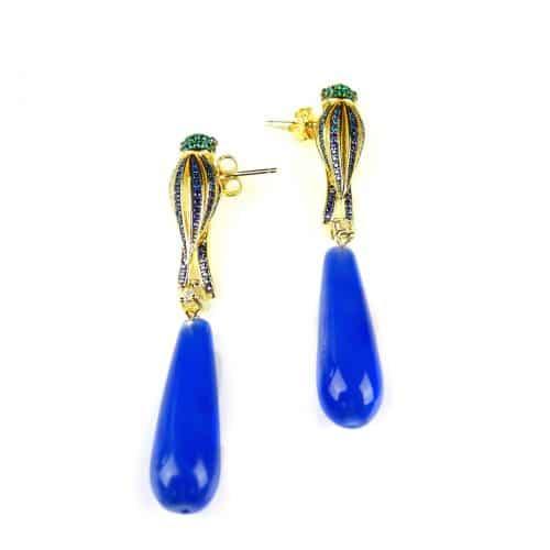 zilveren oorringen oorbellen geel goud verguld blauwe steen