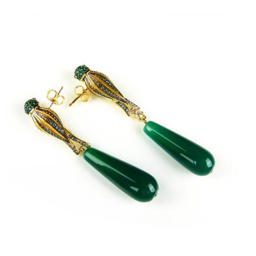 zilveren oorringen oorbellen geel goud verguld met papegaai en groene steen