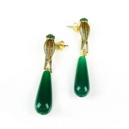 zilveren oorringen oorbellen geel goud verguld papegaai met groene stenen