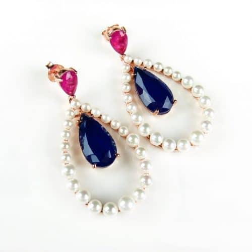 zilveren oorringen oorbellen roos goud verguld gezet met parels en blauwe en roze steen