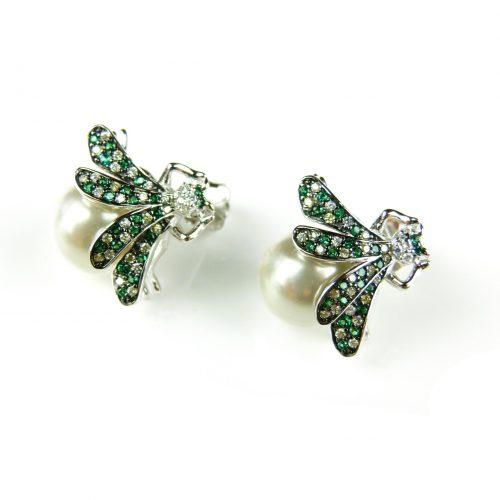 zilveren oorringen oorbellen groene vlieg
