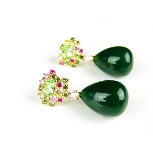 zilveren oorringen oorbellen geel goud verguld gezet met groene stenen