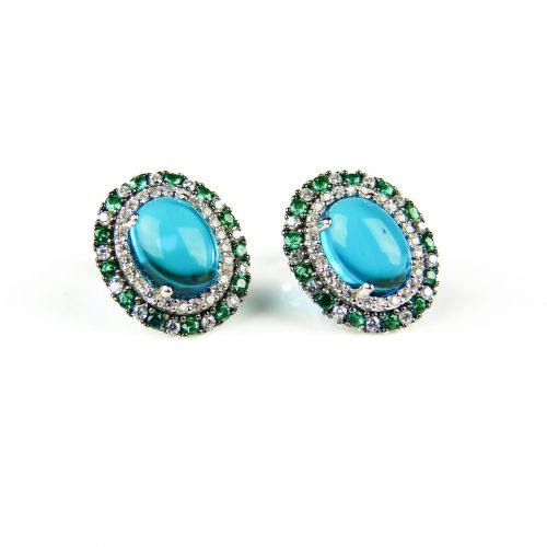 zilveren oorringen oorbellen gezet met blauwe groene en witte stenen