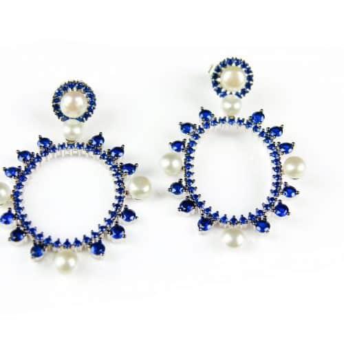 zilveren oorringen oorbellen met blauwe stenen en parels