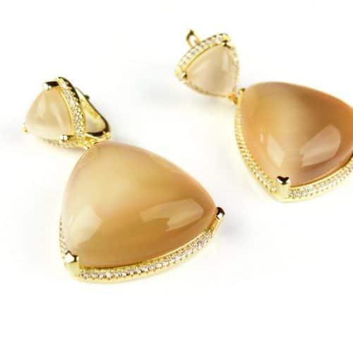 zilveren oorringen oorbellen geel goud verguld gezet met bruine stenen en cubic zirconia