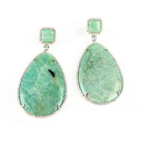 zilveren oorringen oorbellen groene stenen