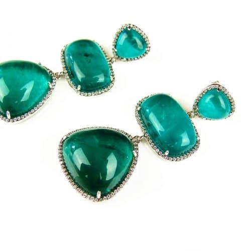 zilveren oorringen oorbellen met groene stenen