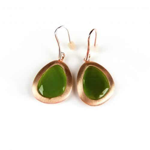 zilveren oorringen oorbellen roos goud verguld kaki groene stenen