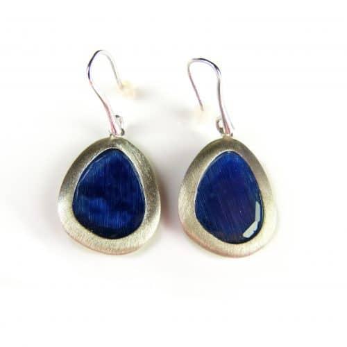 zilveren oorringen oorbellen donker blauwe stenen