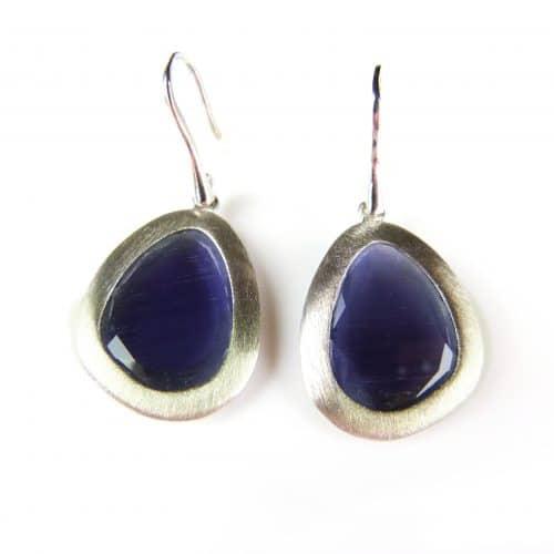 zilveren oorringen oorbellen paarse stenen
