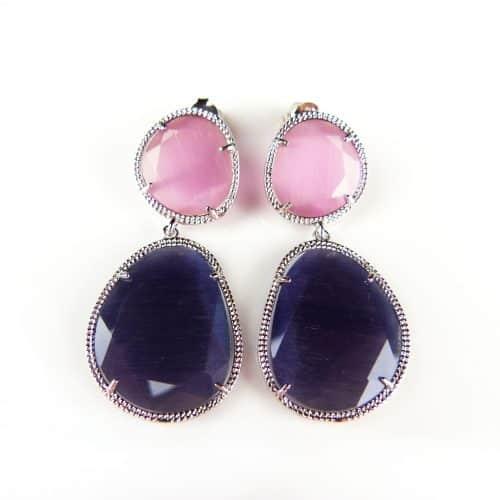 zilveren oorringen oorbellen roze en paarse stenen