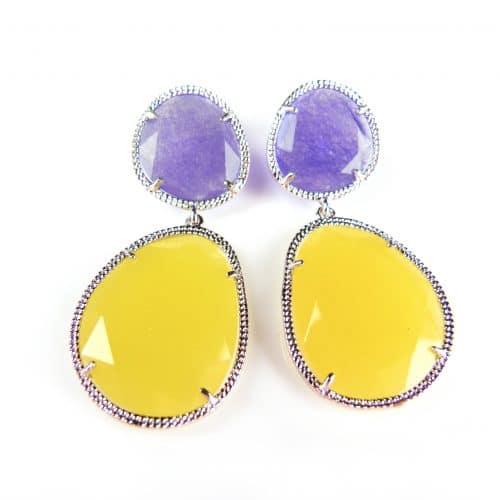 zilveren oorringen oorbellen gele en paarse stenen